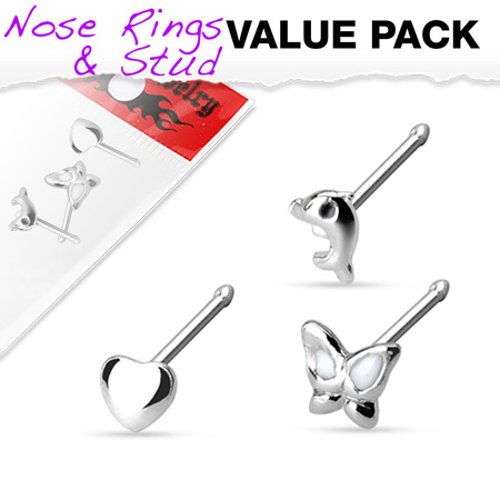 .925 Stirling Silver 3 Piece Nose Stud Pack