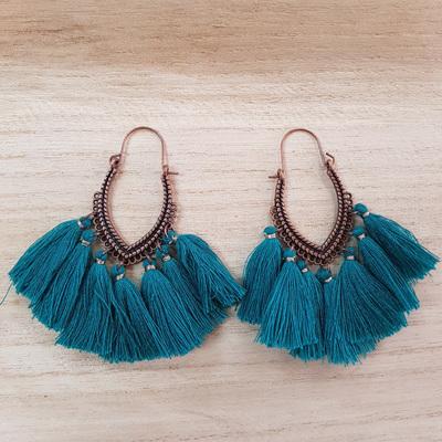 Copper Emerald Tassel Earrings