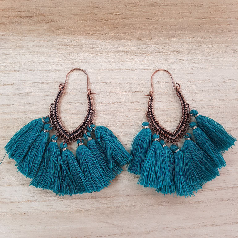 Copper Emerald Tassel Earrings