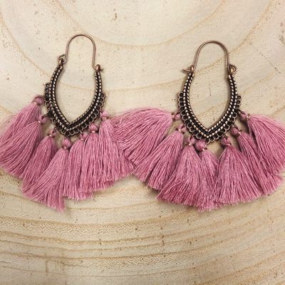Copper Rose Tassel Earrings