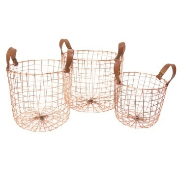 Copper Wire Round Basket W Handles