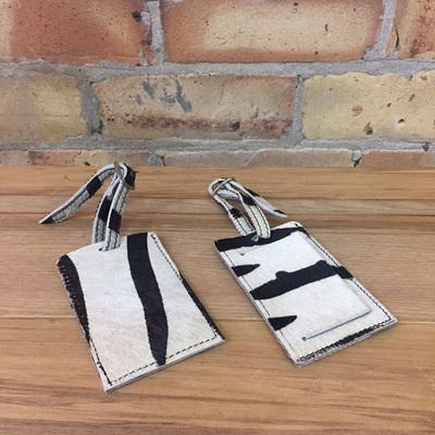 Cowhide Luggage Tag - Zebra Hairon