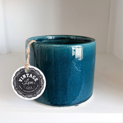 Crackle Ceramic Pot Petrol Blue 10cmh