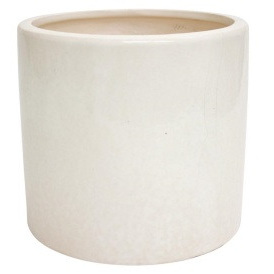 Crackle Ceramic Pot - White - 16.5cmh