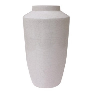 Cream Crackled Ceramic Vase 26x45.5cm
