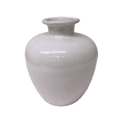 Cream Crackled Ceramic Vase - Large
