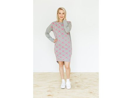 CREW NECK DRESS GREYPINK X SIZE14