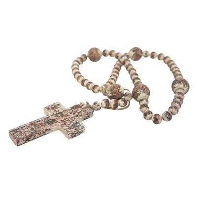 Cross Necklace - Antique White - 75cmh