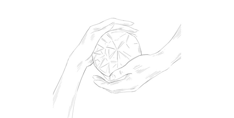 Crost Illustration of hands embracing a diamond