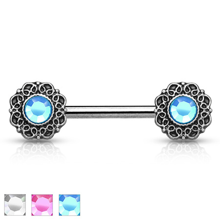 Crystal Centered Tribal Heart Filigree Ends Nipple Bar