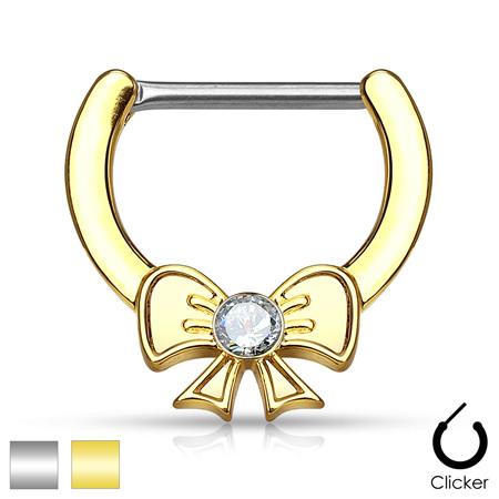 Crystal Centre Ribbon Nipple Clicker