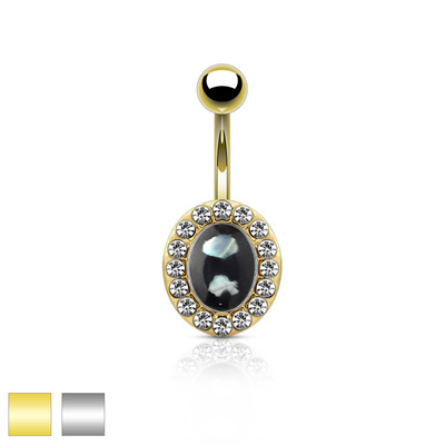 Crystal Paved Oval w/ Mother of Pearl Center Navel Bar