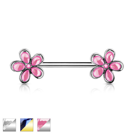 Crystal Set Flower Ends Nipple Bar