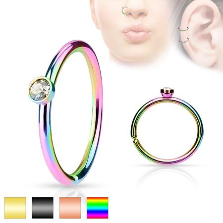 Crystal Set Side IP Nose Hoop Rings