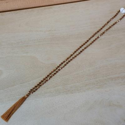 Crystal Tide Tassel Necklace - Deep Gold