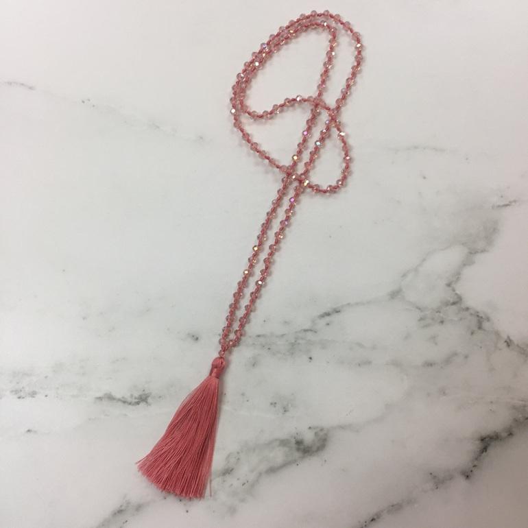 Crystal Tide Tassel Necklace - Dusky Pink
