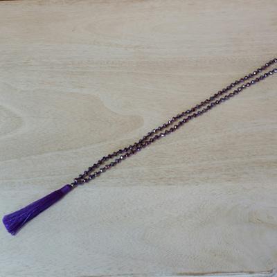 Crystal Tide Tassel Necklace - Pretty Purple