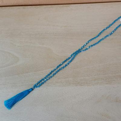 Crystal Tide Tassel Necklace - Sky Blue