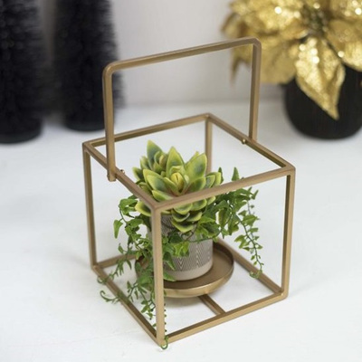 Cube Tealight Holder Gold