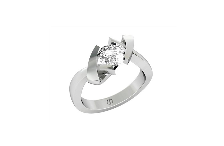 Cubist designer diamond engagement ring