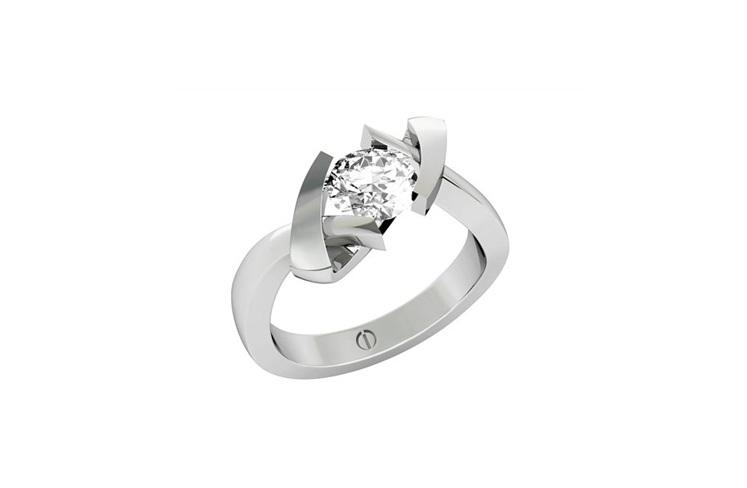 Cubist designer diamond engagement ring