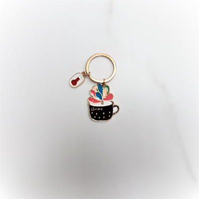 Cup of Flowers Key Ring
