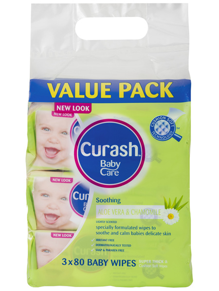 Curash Babycare Aloe Vera & Chamomile Baby Wipes 3 x 80 Pack