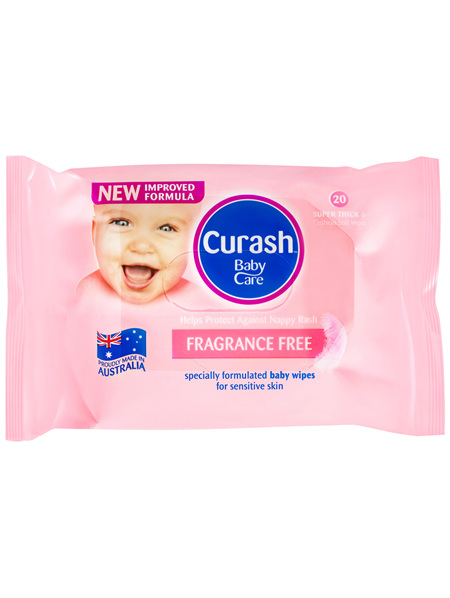 Curash Babycare Fragrance Free Baby Wipes 20 Pack