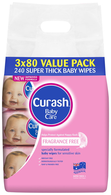 Curash Babycare Fragrance Free Baby Wipes 3 x 80 Pack