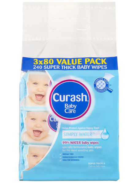Curash Babycare Simply Water Baby Wipes 3 x 80 Pack