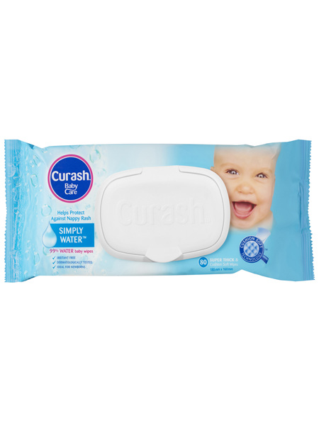 Curash Babycare Simply Water Baby Wipes 80 Pack
