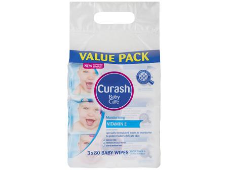 Curash Babycare Vitamin E Baby Wipes 3 x 80 Pack