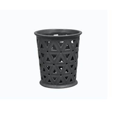 Cut-Out Hexagon Tealight Holder Matt Black Ceramic