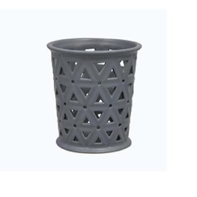 Cut-Out Hexagon Tealight Holder Matt Dk Grey Ceramic