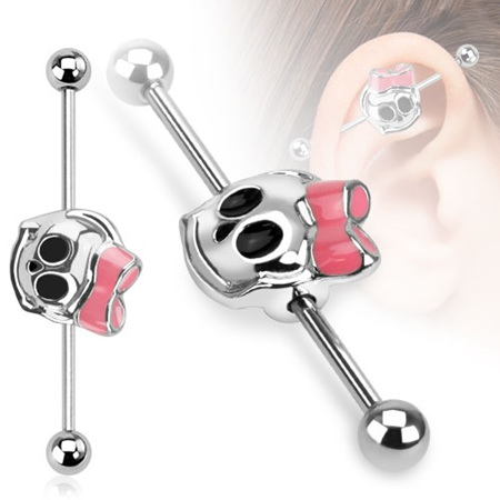 Cute Skull with Ribbon Industrial Barbell