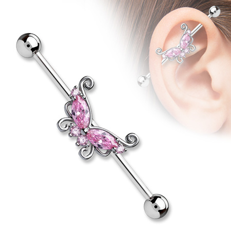 CZ Filigree Butterfly Industrial Bar