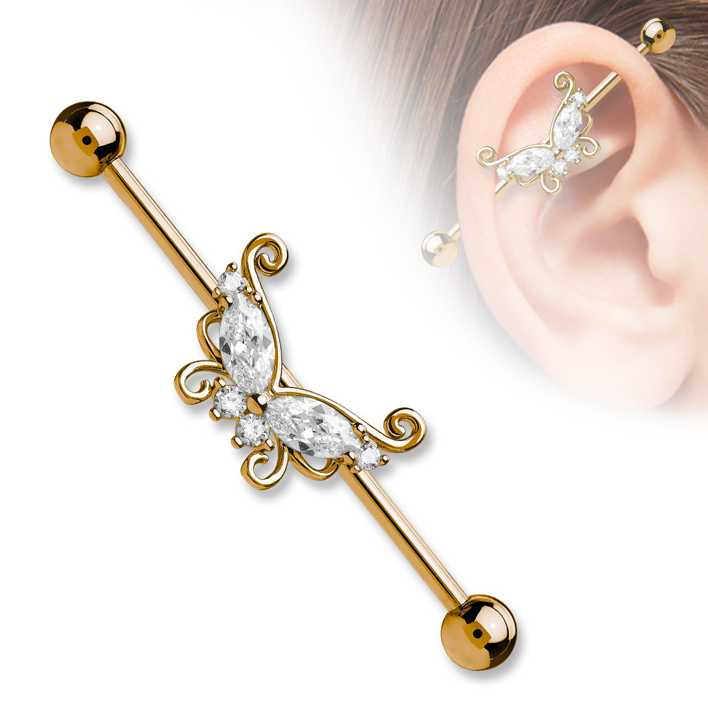 cz filigree butterfly industrial bar glamore piercing. Black Bedroom Furniture Sets. Home Design Ideas