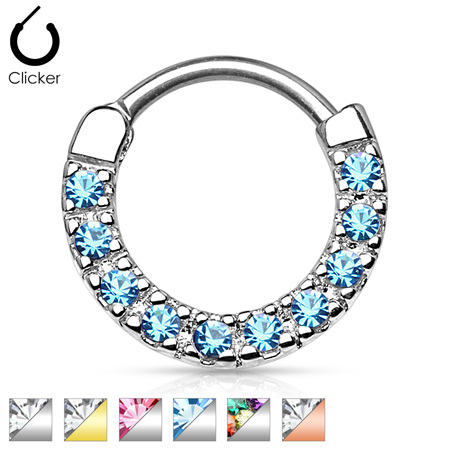 CZ Paved Round Top 316L Surgical Steel Nose Septum/Ear Cartilage Clicker Rings