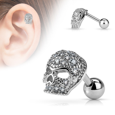 CZ Paved Skull Cartilage Barbell