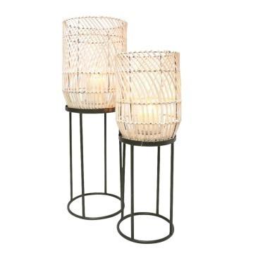 Dabir Floor Standing Lantern - White Wash - 60.5cmh