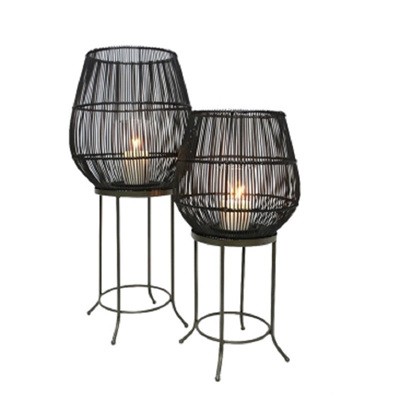 Dacio Floor Standing Lantern Black - Small