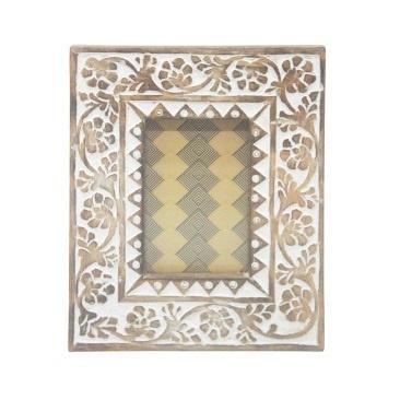 Dalia Wooden Carved Photo Frame - White Distress - 4x6
