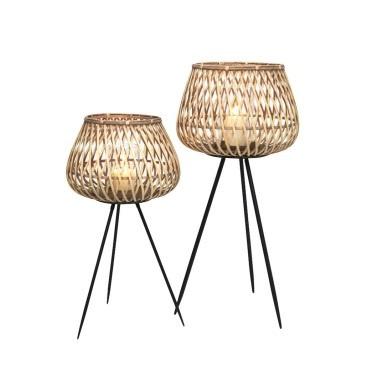 Dami Bamboo Lantern - Natural & Black - 68cmh