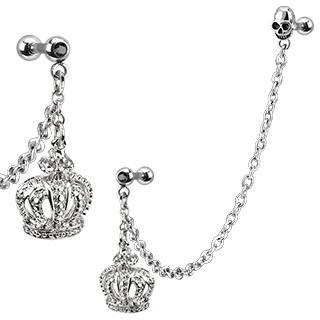 Dangle Crown & Skull w/ Gemmed Cartilage Barbell Ear Chain
