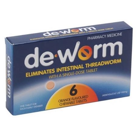 De-Worm Chewable Tablets Orange 6s
