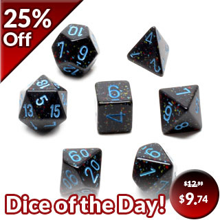 7 'Blue Stars' Speckled Polyhedral Dice