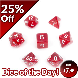 7 Red and White Translucent Polyhedral Dice