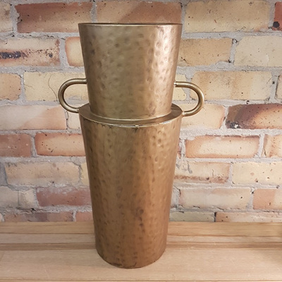 Decorative Vase with Handles Gold Metal
