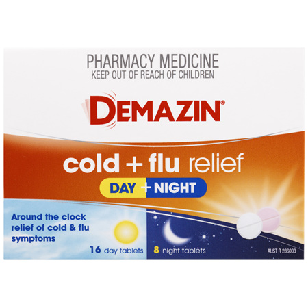 Demazin Cold & Flu Relief Day + Night 24 Tablets