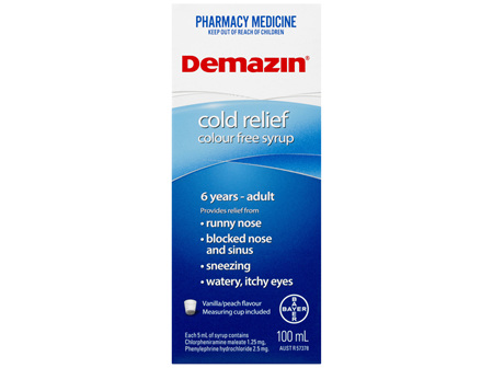 Demazin Cold Relief Colour Free Syrup 100mL